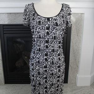Betsey Johnson Black & White Bodycon Wiggle Dress